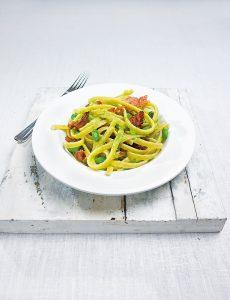 snelle Pasta met tuinbonen en pancetta