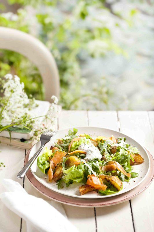 aardappelsalade met gerookte zalm