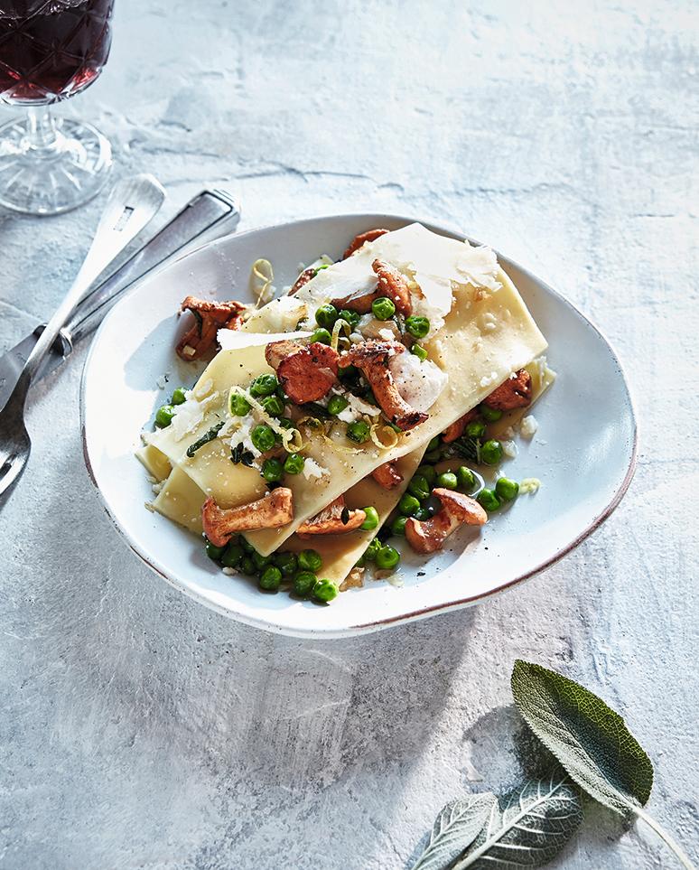 Open lasagne met cantharellen en ricotta