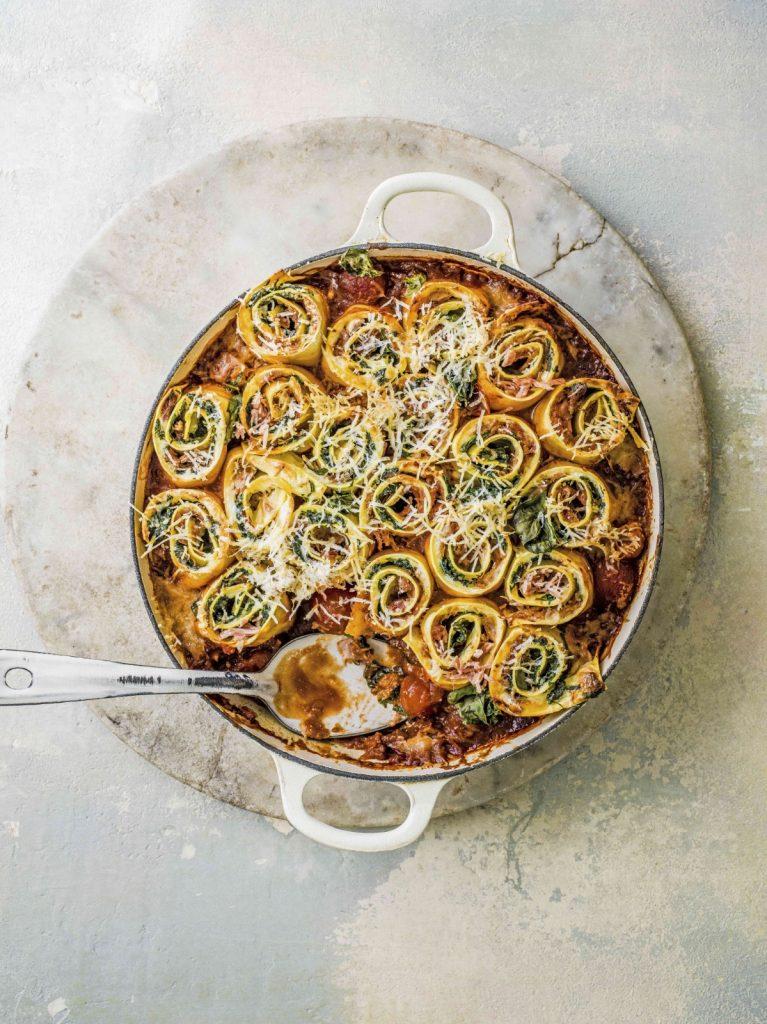 Pastarolletjes met spinazie, mascarpone en pulled pork