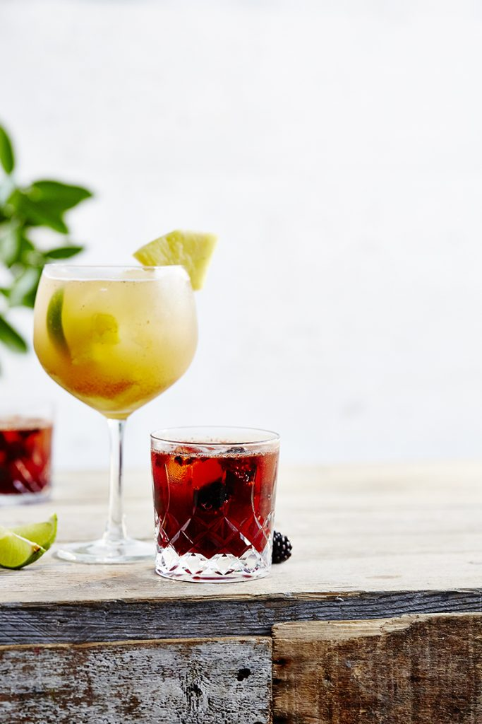 Dark and stormy punch and pomegranate and bourbon smash