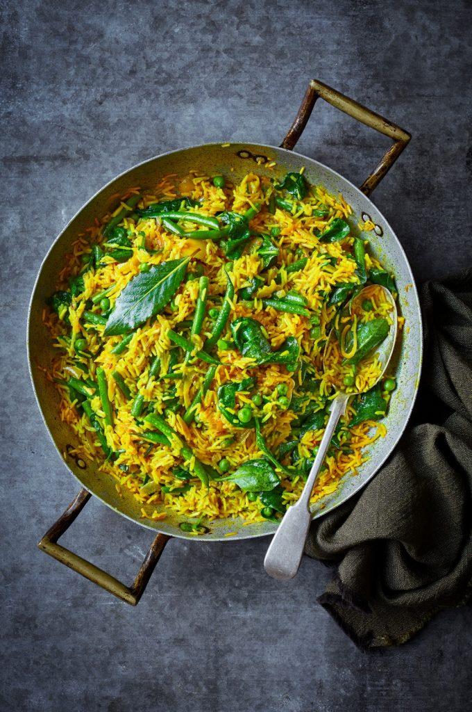recepten voor eenpansgerechten: Goudkleurige pilav met groene groenten