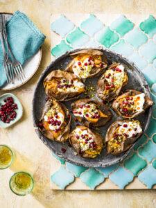 weekmenu Gevulde zoete aardappel met room en pistache